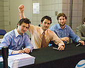 Pat Cannone (Miami - 20), Carter Camper (Miami - 11), Brian Kaufman (Miami - 15) - Members of the Boston University Terriers and Miami University RedHawks signed autographs on the Verizon Center concourse on Friday, April 10, 2009, during the 2009 Frozen Four in Washington, DC.