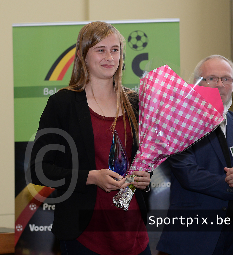 20150529 – OOSTENDE , BELGIUM : Standard's Julie Biesmans pictured during  the 1st edition of the Sparkle  award ceremony , Friday 29 May 2015, in Oostende . The Sparkle  is an award for the best female soccer player during the season 2014-2015 comparable to the Golden Shoe / Gouden Schoen / Soulier D'or for Men . PHOTO DAVID CATRY