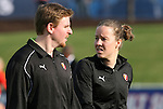 11 April 2009: Referee Margaret Domka (right) talks to assistant referee Matthew Kreitzer before the game. The Washington Freedom played the Chicago Red Stars to a 1-1 tie at the Maryland SoccerPlex in Boyds, Maryland in a regular season Women's Professional Soccer game.