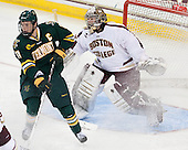 H.T. Lenz (UVM - 11), Parker Milner (BC - 35) - The Boston College Eagles defeated the University of Vermont Catamounts 4-1 on Friday, February 1, 2013, at Kelley Rink in Conte Forum in Chestnut Hill, Massachusetts.