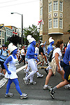 Bay to Breakers is an annual footrace which takes place in San Francisco. The name reflects the fact that the race starts a few blocks from San Francisco Bay and runs west through the city to finish at the Pacific coast, where breakers crash onto Ocean Beach. The race is 12 kilometers long and takes place on the third Sunday in May and more of a costume party than a real marathon.