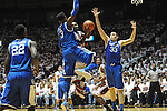 "Ole Miss' Derrick Millinghaus (3) vs. Kentucky's Kyle Wiltjer (33) and Kentucky's Nerlens Noel (3) at the C.M. ""Tad"" Smith Coliseum on Tuesday, January 29, 2013.  (AP Photo/Oxford Eagle, Bruce Newman).."