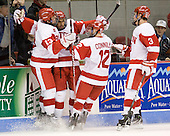 Garrett Noonan (BU - 13), Sahir Gill (BU - 28), Chris Connolly (BU - 12), Charlie Coyle (BU - 3) - The visiting University of Vermont Catamounts tied the Boston University Terriers 3-3 in the opening game of their weekend series at Agganis Arena in Boston, Massachusetts, on Friday, February 25, 2011.