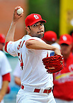 8 March 2012: St. Louis Cardinals' pitcher Jaime Garcia warms up prior to a Spring Training game against the Boston Red Sox at Roger Dean Stadium in Jupiter, Florida. The Cardinals defeated the Red Sox 9-3 in Grapefruit League action. Mandatory Credit: Ed Wolfstein Photo