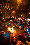 Drummers tune their tambors by heating them near fires lit in the streets of Montevideo prior to the parade of Llamadas.  One of the most imporant elements of Carnaval in Uruguay is Candombe, an African drum rhythm played on tambor drums.  It was revitalized in the Americas by black slave descendents as a way by which to reclaim their cultural heritage and battle for civil rights.