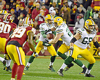 Green Bay Packers quarterback Aaron Rodgers (12) ends off to fullback Aaron Ripkowski (22) in first quarter action against the Washington Redskins at FedEx Field in Landover, Maryland on Sunday, November 20, 2016.<br /> Credit: Ron Sachs / CNP /MediaPunch