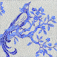 Birds and Branches, a hand cut jewel glass mosaic, is shown in Opal, Iolite and Lapis Lazuli.