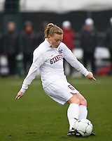 Stanford defender Alicia Jenkins (6) strikes the ball. North Carolina defeated Stanford 1-0 to win the 2009 NCAA Women's College Cup at the Aggie Soccer Stadium in College Station, TX on December 6, 2009.