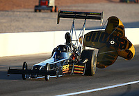 Mar 28, 2014; Las Vegas, NV, USA; NHRA top fuel dragster driver Troy Buff during qualifying for the Summitracing.com Nationals at The Strip at Las Vegas Motor Speedway. Mandatory Credit: Mark J. Rebilas-