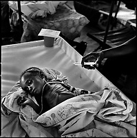 Luanda, Angola, May 19, 2006.Maria-Philomena, 2 1/2, is a patient at the Boa Vista MSF Belgium operated cholera field clinic. Between February and June 2006, more than 30000 people were infected with cholera in Angola's worse outbreak ever; more than 1300 died.