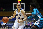 31 December 2015: Duke's Angela Salvadores (ESP) (3) and UNCW's Shatia Cole (5). The Duke University Blue Devils hosted the University of North Carolina Wilmington Seahawks at Cameron Indoor Stadium in Durham, North Carolina in a 2015-16 NCAA Division I Women's Basketball game. Duke won the game 78-56.