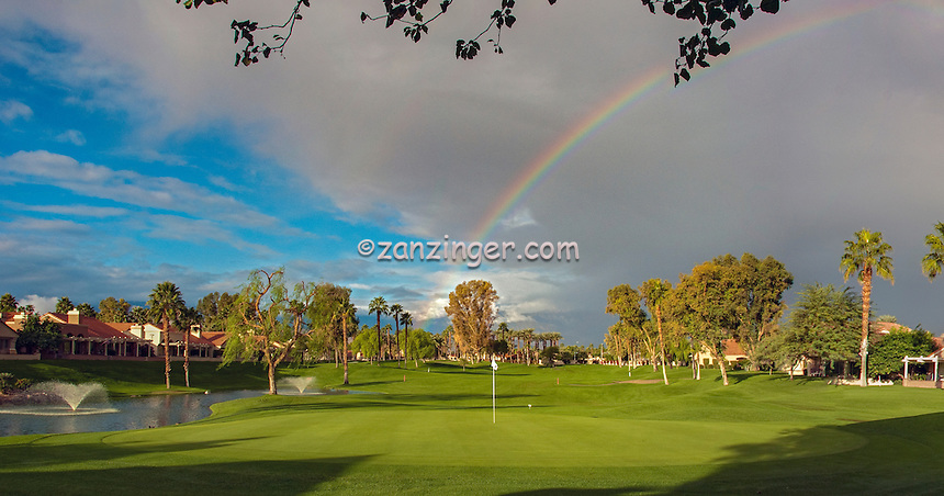 Golf Course ,Flag on the Green, Stunning ,Rainbow, Palm Desert, CA, Clouds