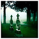 Crosses in the fog in Oxford, Miss. on Monday, October 24, 2011..Photo taken with an IPhone 4 using Hipstamatic app. .©2011 Bruce Newman