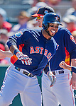 4 March 2016: Houston Astros infielder Luis Valbuena returns to the dugout after hitting a solo home run during a Spring Training pre-season game against the St. Louis Cardinals at Osceola County Stadium in Kissimmee, Florida. The Astros defeated the Cardinals 6-3 in Grapefruit League play. Mandatory Credit: Ed Wolfstein Photo *** RAW (NEF) Image File Available ***