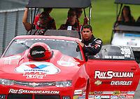 Jun 20, 2015; Bristol, TN, USA; NHRA pro stock driver Drew Skillman on the return road during qualifying for the Thunder Valley Nationals at Bristol Dragway. Mandatory Credit: Mark J. Rebilas-