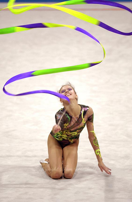 Oct 01, 2000; SYDNEY, AUSTRALIA:<br /> Yulia Raskina (BLR) performs with ribbon during rhythmic gymnastics final at 2000 Summer Olympics. Yulia took silver medal at Sydney.