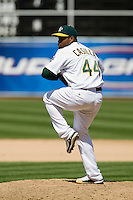 6 April 2008: A's #44 Santiago Casilla pitches during the Cleveland Indians 2-1 victory over the Oakland Athletics at the McAfee Coliseum in Oakland, CA.