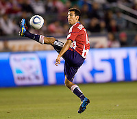 Chivas USA defender Jonathan Bornstein makes a makes a save. The Colorado Rapids defeated the Chivas USA 1-0 at Home Depot Center stadium in Carson, California on Friday evening March 26, 2010.  .