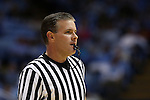 16 November 2014: Referee Joe Lindsay. The University of North Carolina Tar Heels played the Robert Morris University Colonials in an NCAA Division I Men's basketball game at the Dean E. Smith Center in Chapel Hill, North Carolina. UNC won the game 103-59.
