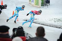 SCHAATSEN: NOORDLAREN: 18-01-2017, IJsvereniging De Hondsrug, de eerste marathon op natuurijs van 2017, Evert Hoolwerf (#21), Jorrit Bergsma (#13), ©foto Martin de Jong
