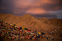 Evening falls over the newest part of Leh town as seen from the Tsemo Castle, Ladakh.