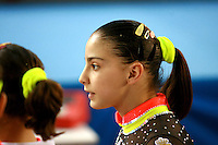 Laura Campos of Spain talks with teammates  during senior women's team competition at 2006 European Championships Artistic Gymnastics at Volos, Greece on April 29, 2006.  (Photo by Tom Theobald)<br />