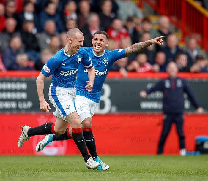 Kenny Miller celebrates his opening goal with James Tavernier