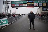 Belgian CX legend Roland Liboton who won EVERY national CX title in the 80'ies (10!) + 4 elite CX World Championships  at the start of the Superprestige Noordzeecross <br /> <br /> Middelkerke / Belgium 2017