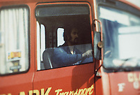 Pix: Barry Wilkinson/SWpix.com. The Yorkshire Ripper Archive. The Peter Sutcliffe Archive 14th May 1979 - 11th May1980...COPYRIGHT PICTURE>>SIMON WILKINSON>>0870 092 0092>>..Yorkshire Ripper 1981..Peter Sutcliffe pictured in his lorry cab at work.