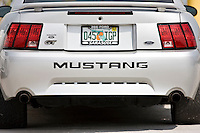 Vehicle registration plate on Ford Mustang GT sports vehicle in Anna Maria Island, United States of America
