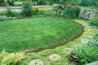 Circular lawn inside fence