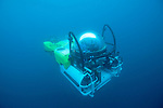 Cocos Island, Costa Rica; the DeepSee submarine fully submerged below ocean's surface