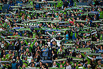 Seattle Sounders fans hold Sounder scarves before their game with the  New England Revolution during an MLS match on March 8, 2015 in Seattle, Washington.  The Sounders beat the Revolution 3-0.  Jim Bryant Photo. ©2015. All Rights Reserved.