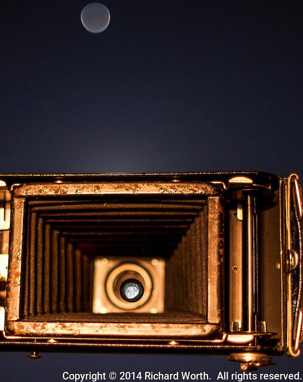 The January full moon, Wolf Moon, seen through the lens of a 1930s era Kodak Jiffy SIX-20, camera.