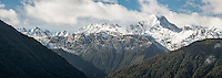 Southern Alps near Fox Glacier after fresh snowfall, Westland Tai Poutini National Park, UNESCO World Heritage Area, West Coast, New Zealand, NZ