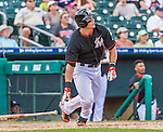 10 March 2015: Miami Marlins infielder Derek Dietrich hits a walk-off solo home run during Spring Training action against the Washington Nationals at Roger Dean Stadium in Jupiter, Florida. The Marlins edged out the Nationals 2-1 in Grapefruit League play. Mandatory Credit: Ed Wolfstein Photo *** RAW (NEF) Image File Available ***