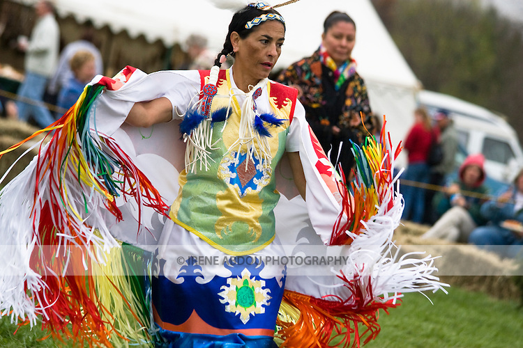 "A Native American ""Fancy Dancer"" performs at the 1st annual Healing Horse Spirit PowWow in Mt. Airy, Maryland, USA."