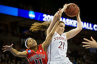 SPOKANE, WA - MARCH 30, 2013: Sara James makes the roubound during the third round NCAA Championships game matching Stanford vs Georgia at the Spokane Arena. The Cardinal fell to the Bulldogs 61-59.