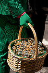 A man wearing a green marbled suit and green gloves, carries an Easter Basket full of golden eggs in the Easter Parade on Fifth Avenue in New York City