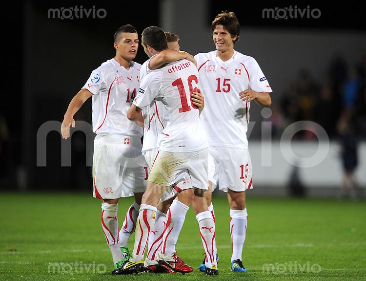 FUSSBALL   UEFA U21-EUROPAMEISTERSCHAFT 2011   GRUPPENPHASE Daenemark - Schweiz    11.06.2011 JUBEL mit Granit Xhaka , Francois Affolter , Timm Klose (v. li., Schweiz)