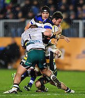 Elliott Stooke of Bath Rugby takes on the Northampton Saints defence. Aviva Premiership match, between Bath Rugby and Northampton Saints on February 10, 2017 at the Recreation Ground in Bath, England. Photo by: Patrick Khachfe / Onside Images