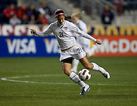 Alex Morgan (21) of the USWNT takes control of the ball during an international friendly at PPL Park in Chester, PA.  The U.S. tied China, 1-1.