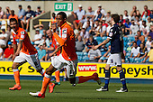 Thomas Ince, Blackpool FC turns to celebrate after opening the scoring - Millwall vs Blackpool - NPower Championship Football at the New Den, London - 18/08/12 - MANDATORY CREDIT: Ray Lawrence/TGSPHOTO - Self billing applies where appropriate - 0845 094 6026 - contact@tgsphoto.co.uk - NO UNPAID USE.