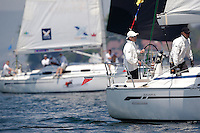 Jesper Radich leads Ian Williams during the quarter final at Match Race Germany 2010. World Match Racing Tour. Langenargen, Germany. 23 May 2010. Photo: Gareth Cooke/Subzero Images/WMRT