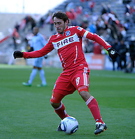 Chicago Fire forward Gaston Puerari (18) makes a move.  The Chicago Fire defeated Sporting KC 3-2 at Toyota Park in Bridgeview, IL on March 27, 2011.
