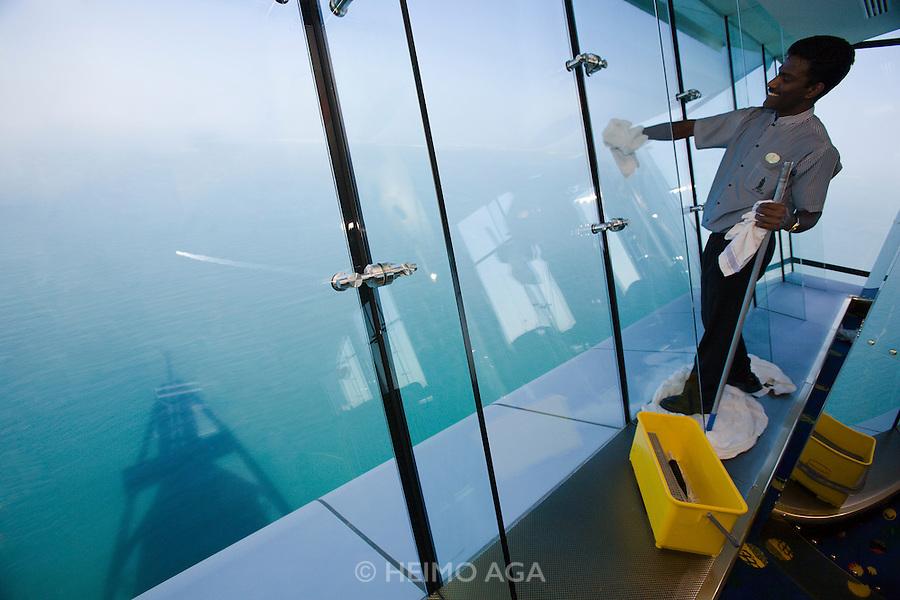 Jumeirah, Burj Al Arab, the World's most luxurious hotel. Al Muntaha restaurant 200 meters above sea level offers an incredible panoramic view.