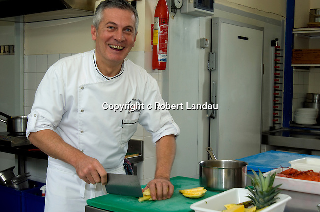 Chef Jacques Ratier at work in the kithcen of his restaurant La Receration in Les Arques