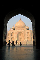 The Taj Mahal was constructed in the city of Agra of the finest marble, inlaid semi precious stones that formed flowers and verses from the Koran. Four minarets surround the giant dome on top of the tomb, and on each facade is a Valted arch, known as a pishtaq..