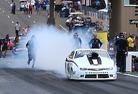 Jul. 18, 2014; Morrison, CO, USA; NHRA pro stock driver Shane Gray during qualifying for the Mile High Nationals at Bandimere Speedway. Mandatory Credit: Mark J. Rebilas-