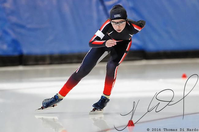 September 18, 2010 - Kearns, Utah - Ally Di Nardo races in long track speedskating time-trials held at the Utah Olympic Oval.